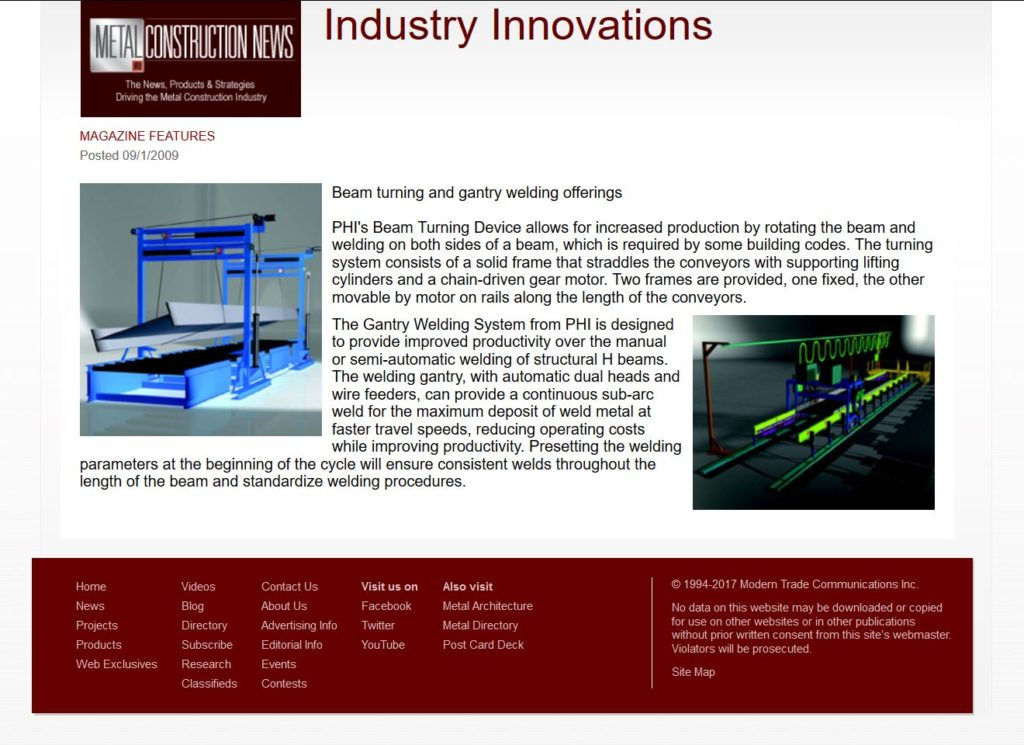 'Metal Construction News' Features PHI Gantry Welder